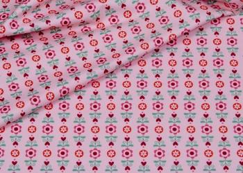 Hilco Jersey Hearts Flowers rosa