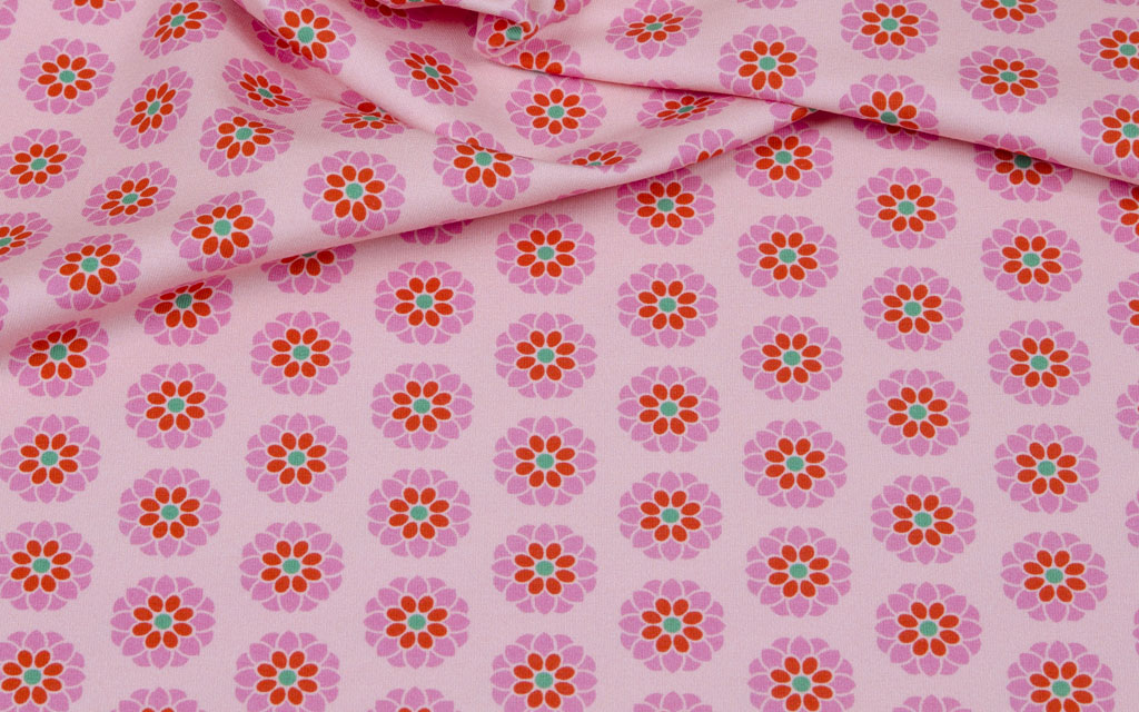 Hilco Jersey Flowers rosa