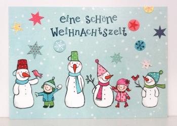 Postkarte_Schneemann_Sterne
