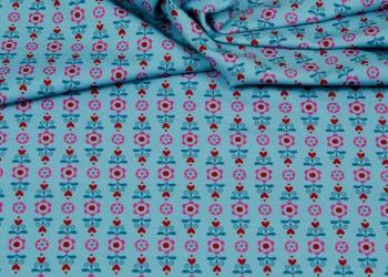 Hilco Jersey Hearts Flowers blau
